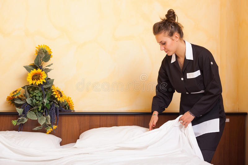 Chamber Maid at Work royalty free stock photo