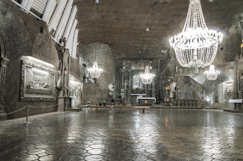 Chamber in Salt Mine in Wieliczka, Poland. Kinga's Chapel in Salt Mine in Wieliczka, Poland royalty free stock photography