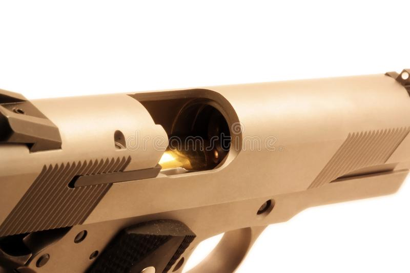 Chambered .45 bullet stock photography