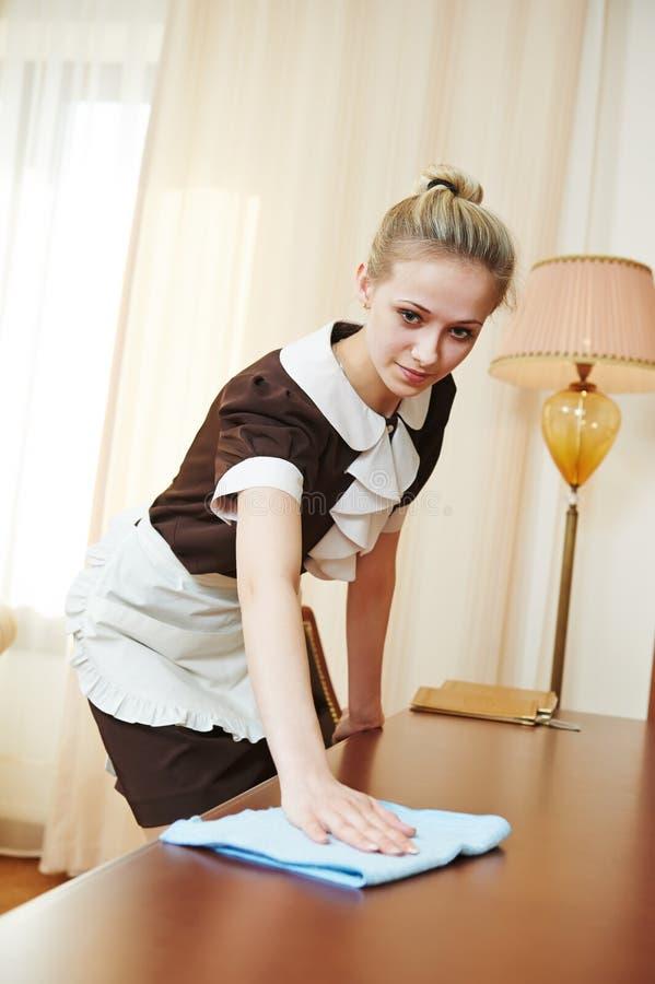 chambermaid at hotel service stock photo