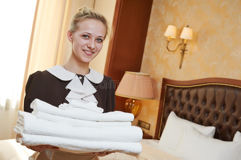 chambermaid at hotel service stock image image of hotel caucasian 40288295. Black Bedroom Furniture Sets. Home Design Ideas