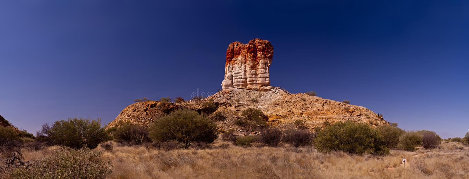 Chambers Pillar. (Aboriginal name 'Idracowra' or 'Etikaura') is a sandstone formation some 160 km south of Alice Springs in the Northern Territory of Australia royalty free stock photography