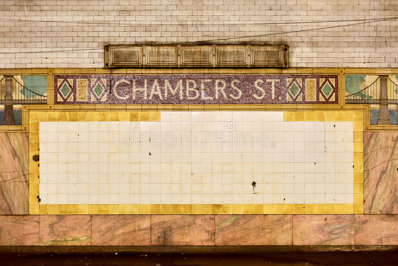 Chambers Street Subway Station - New York City royalty free stock photos