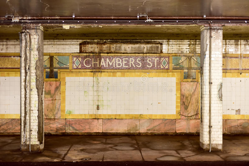 Chambers Street Subway Station - New York City. New York, USA - May 30, 2015: Chambers Street Subway Station in Manhattan. Intricate tiles with symbols of the royalty free stock images