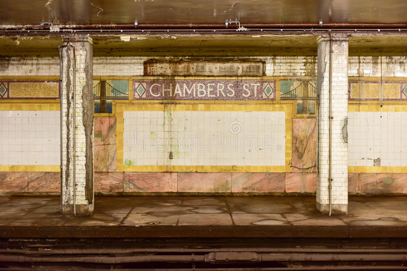 Chambers Street Subway Station - New York City. New York, USA - May 30, 2015: Chambers Street Subway Station in Manhattan. Intricate tiles with symbols of the stock photos