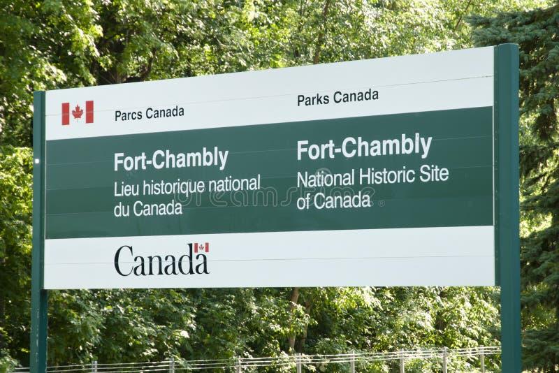 Chambly堡垒标志-魁北克-加拿大 库存图片