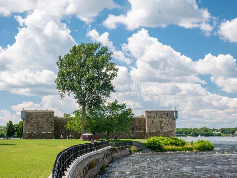 Chambly, Quebec, Canada. July 2020. People are enjoying the beautiful summer day near the magnificent site of Fort de Chambly stock photo