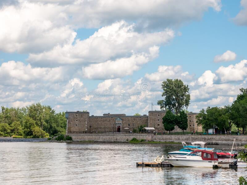 Chambly, Quebec, Canada. July 2020. People are enjoying the beautiful summer day near the magnificent site of Fort de Chambly royalty free stock image