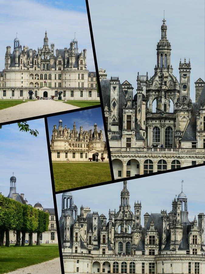 Chambord城堡,法国拼贴画  免版税库存照片