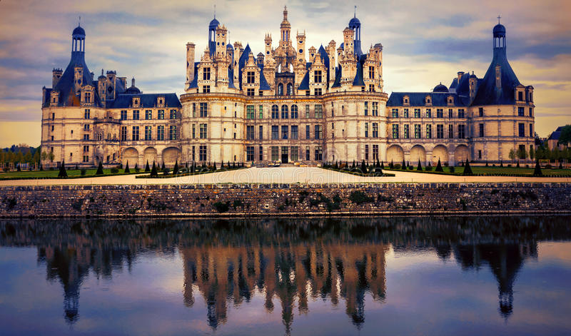 Chambord castle - greatest masterpiece of Renaissance architecture. France stock photography