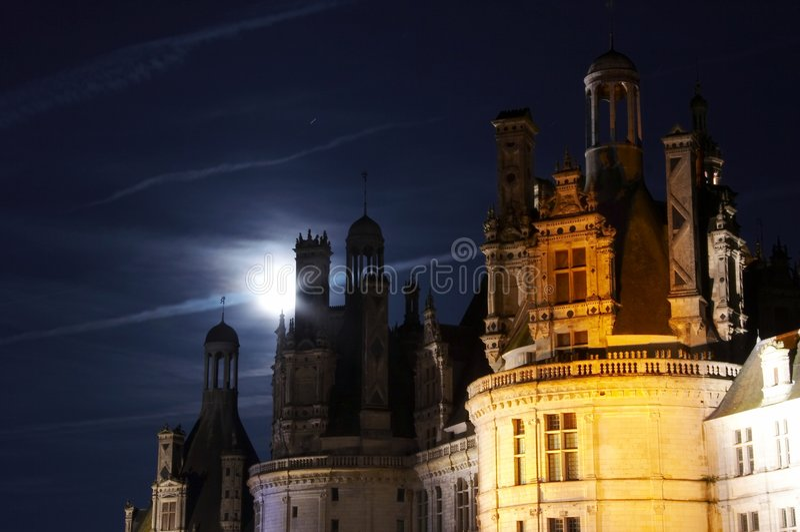 chambord Górska chata De Blask księżyca obraz royalty free