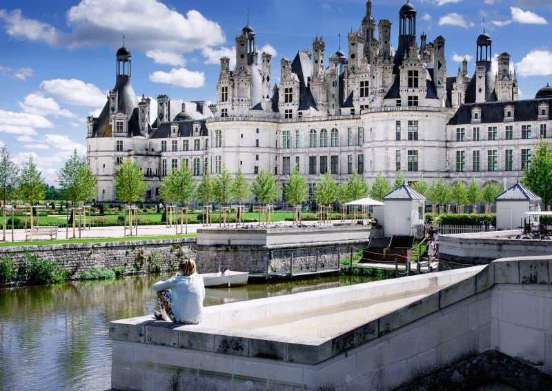 Chambord, Loir e Cher, França, o 14 de agosto de 2017, castelo Chambord T fotos de stock