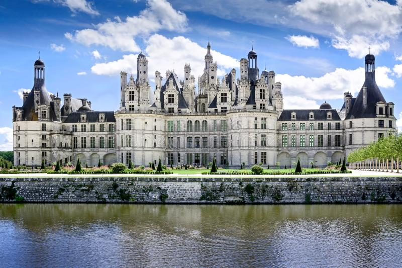 Chambord, Loire et Cher, Frankrijk, 14 augustus 2017, Chateau Chambord T royalty-vrije stock afbeelding