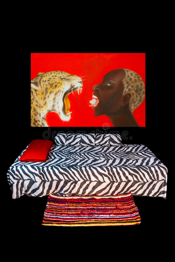 Chambre à Coucher Africaine De Style Photo stock - Image du couette ...