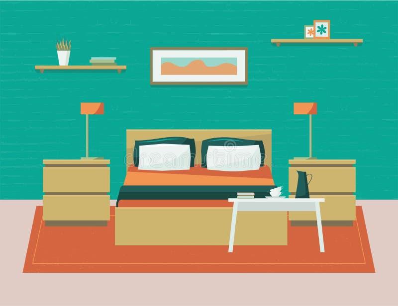 Chambre à coucher avec des meubles Illustration plate de vecteur de style de bande dessinée illustration libre de droits