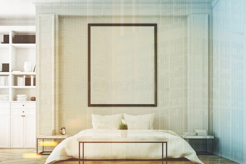 Chambre à coucher avec la bibliothèque modifiée la tonalité illustration de vecteur
