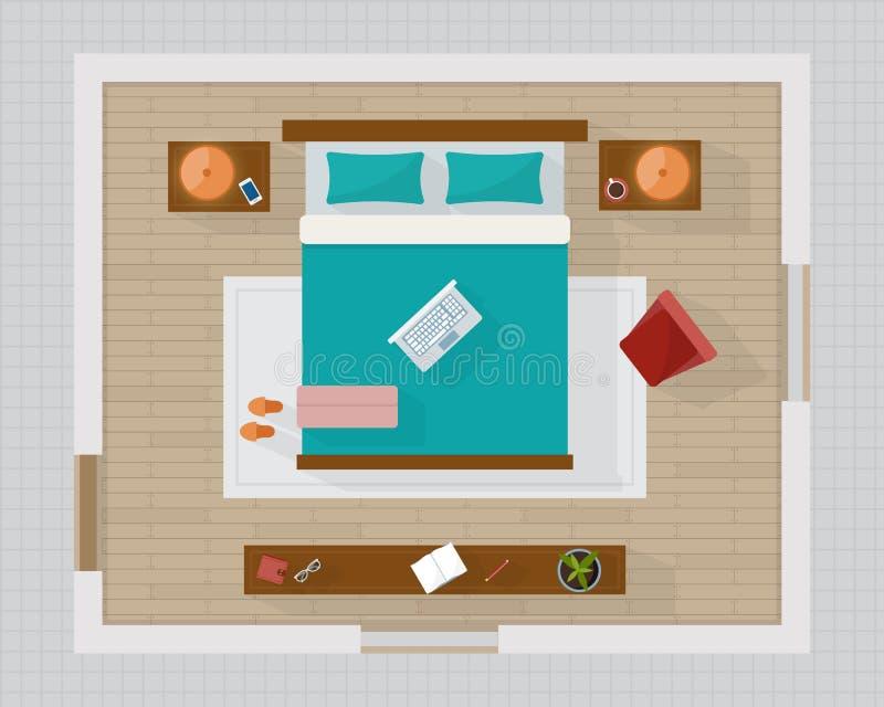 Chambre à coucher avec la vue supérieure aérienne de meubles illustration stock