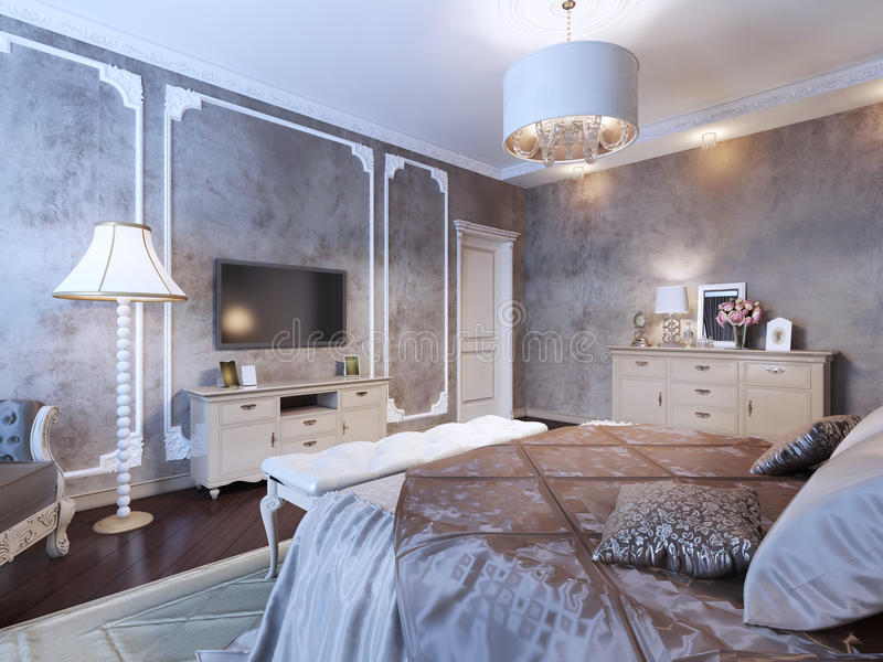 chambre à coucher avec le papier peint foncé illustration stock ... - Chambre A Coucher Avec Papier Peint