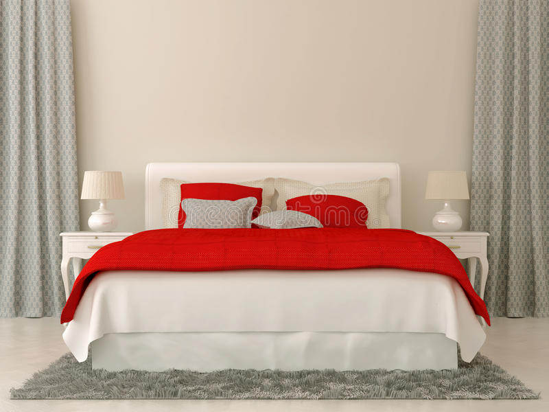 Chambre à coucher avec les décorations rouges et grises photo stock