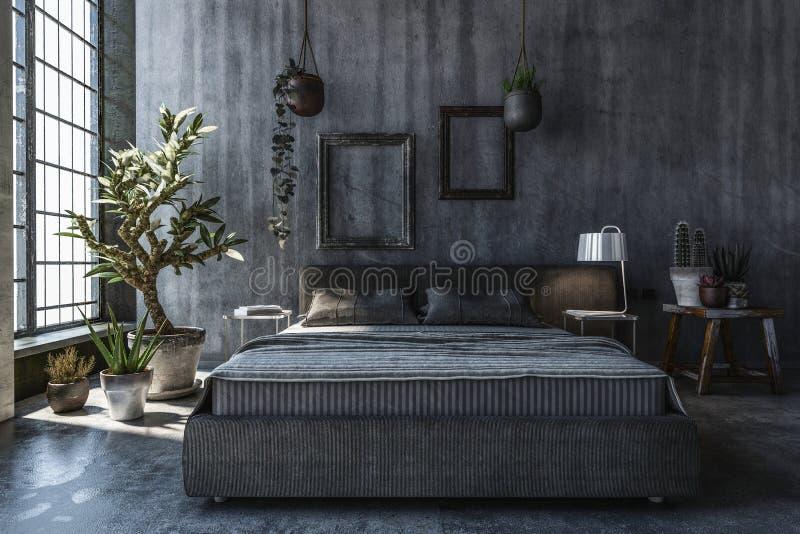Chambre à coucher avec les murs gris illustration stock