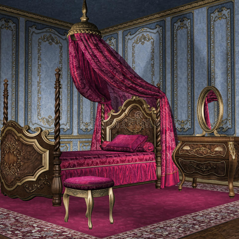 Chambre à coucher baroque illustration de vecteur