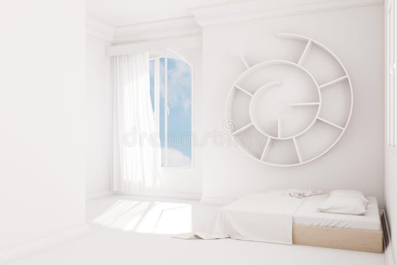 Chambre à coucher blanche illustration de vecteur
