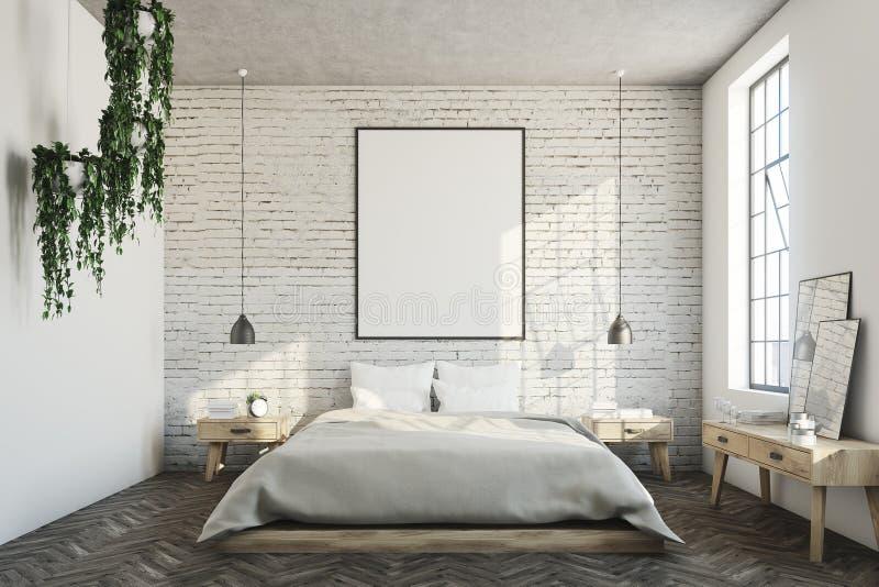 Chambre à coucher blanche de brique, affiche illustration stock