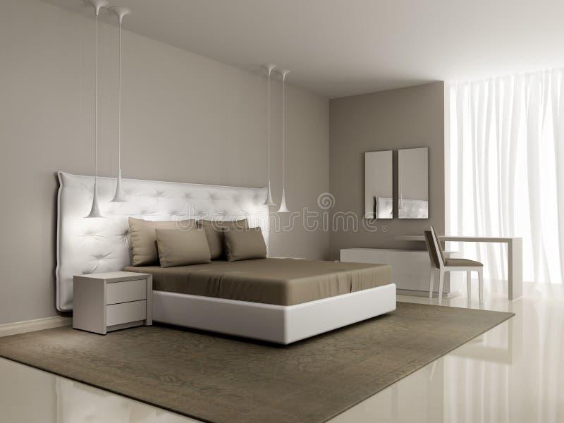 Chambre à Coucher Blanche De Luxe Avec Le Lit Boutonné Image stock ...