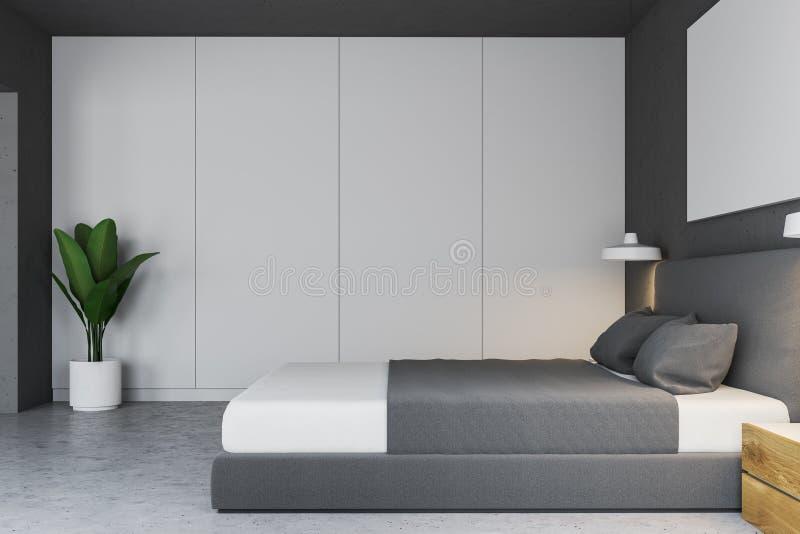 Chambre à coucher blanche intérieure, plancher en béton illustration stock