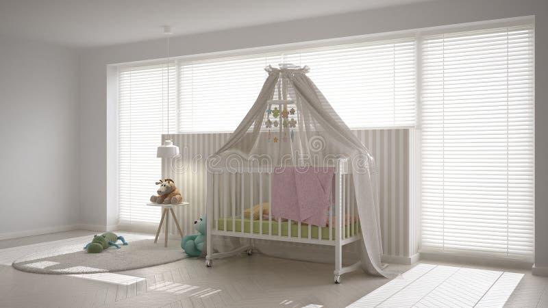 Chambre à coucher blanche scandinave d'enfant avec la huche d'auvent, inter minimal illustration stock