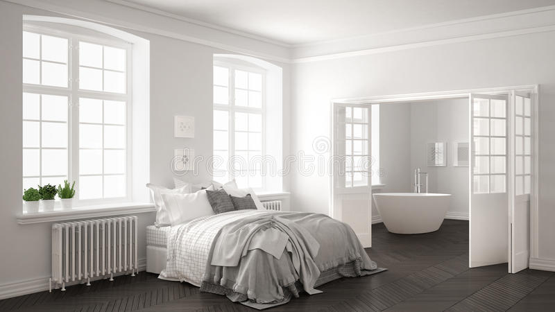 Chambre à Coucher Blanche Scandinave Minimaliste Avec La Salle De ...