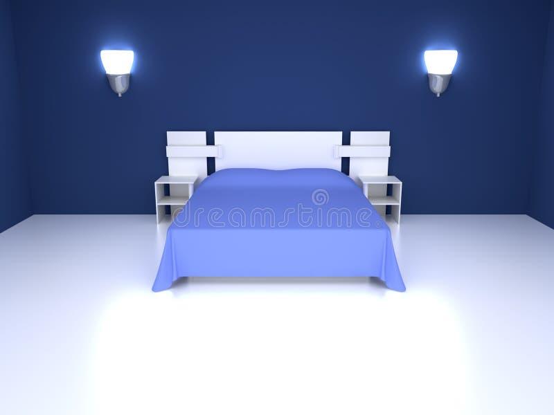 Chambre à coucher bleue illustration de vecteur