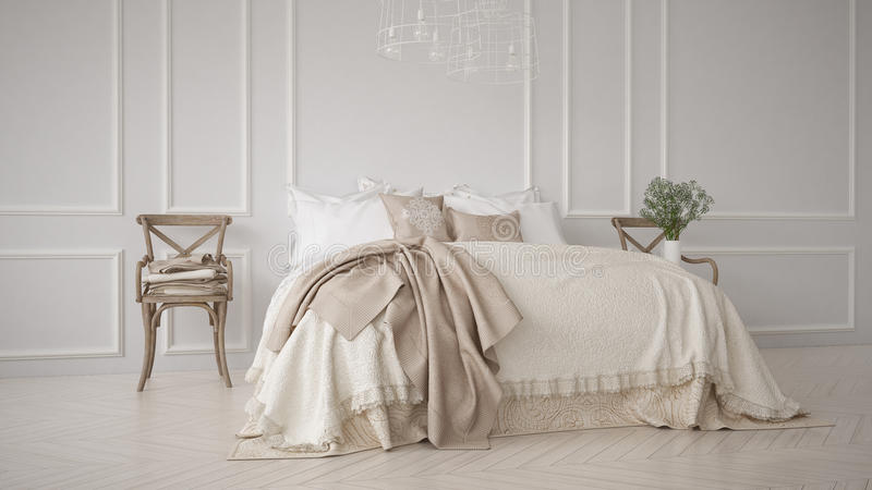 Chambre à coucher classique de Minimalistic, conception intérieure blanche images stock