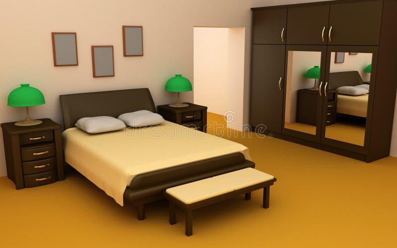 Chambre à coucher confortable 3d intérieur illustration libre de droits
