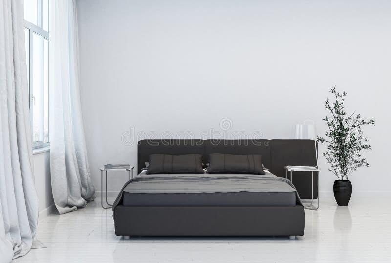 Chambre à coucher contemporaine avec le lit et le pot noirs illustration stock