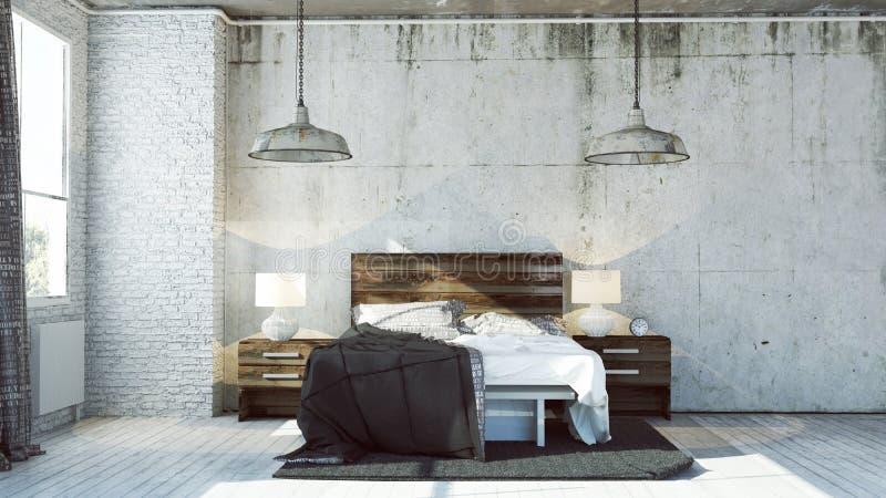 chambre à coucher 3d dans le regard industriel illustration stock