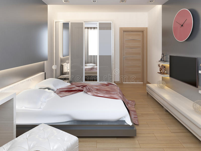 Chambre à coucher dans la lumière orientale de style avec les fleurs rouges et jaunes illustration de vecteur