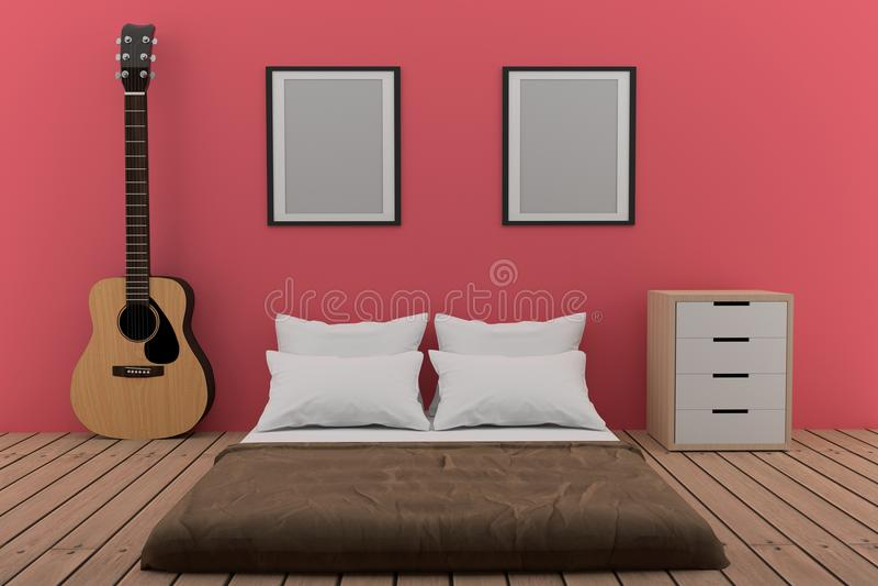 Chambre à coucher dans la chambre rose avec la guitare acoustique dans le rendu 3D illustration libre de droits