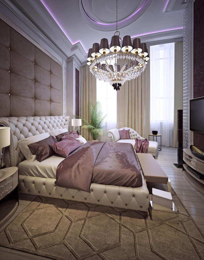Chambre à coucher dans un style classique luxueux photographie stock