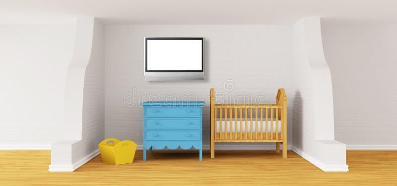 Chambre à coucher de chéri avec une huche. illustration libre de droits