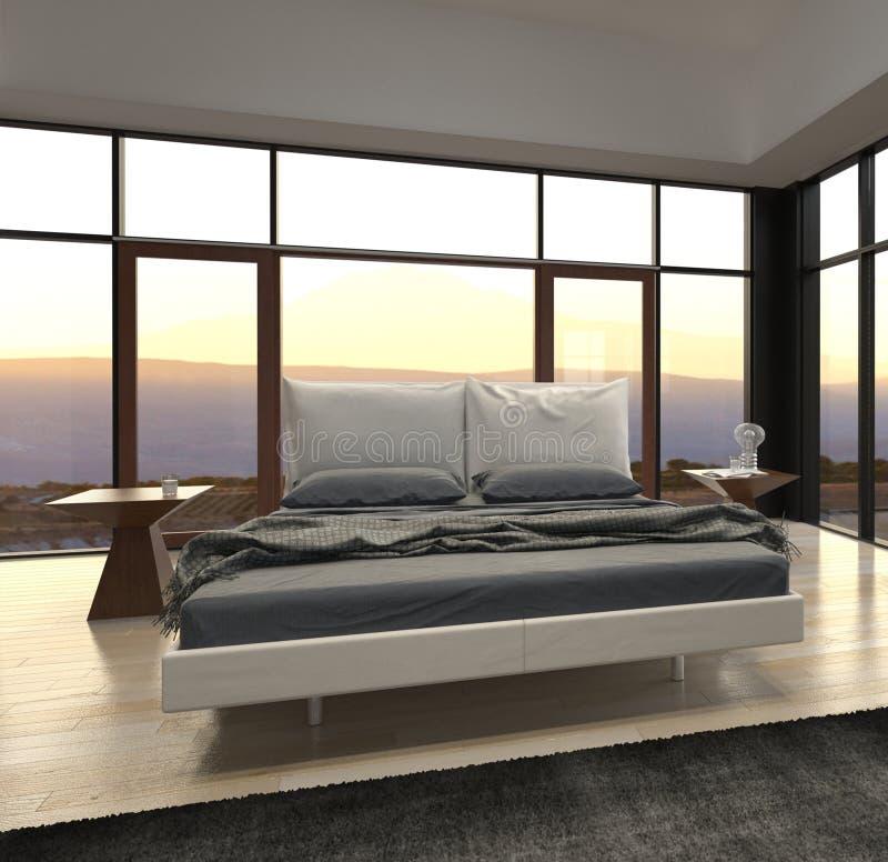 Chambre à coucher de conception moderne avec la vue de paysage image libre de droits