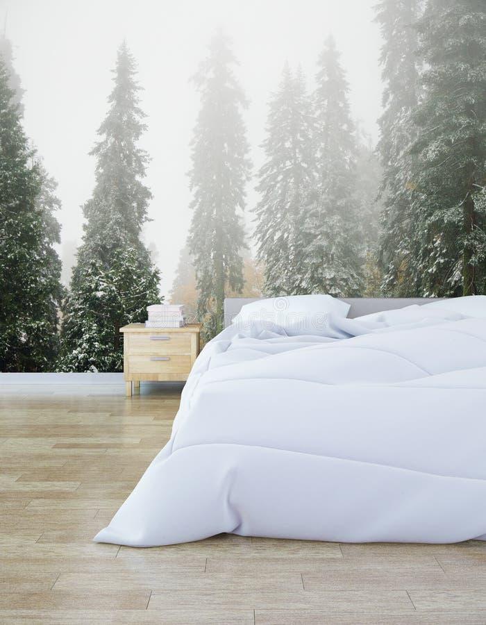 Chambre à coucher de hippie avec la photo de forêt illustration libre de droits