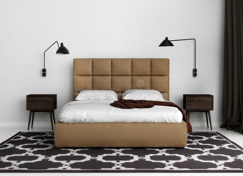 Chambre à coucher de luxe élégante contemporaine avec le lit en cuir illustration de vecteur