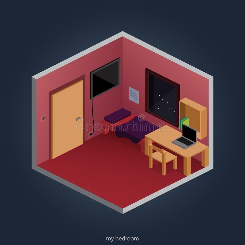 Chambre à coucher de nuit illustration stock