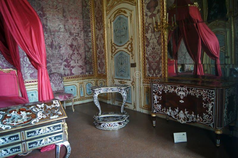 Chambre à coucher de roi de Stupinigi de palais royal de l'Italie Turin image stock