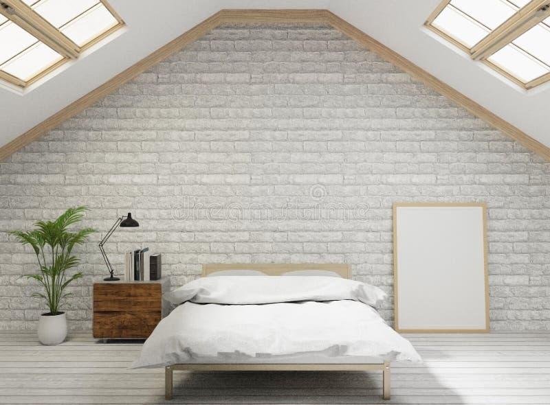 chambre à coucher de style de grenier du rendu 3D avec le mur de briques blanc, plancher en bois, arbre, cadre pour la moquerie  illustration stock