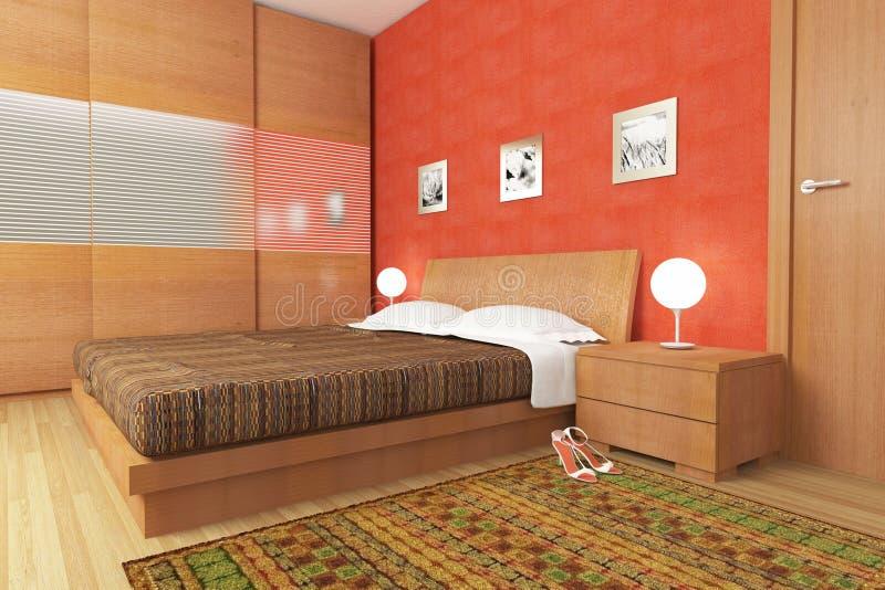 Chambre à Coucher En Bois Moderne Illustration Stock - Image: 12844256