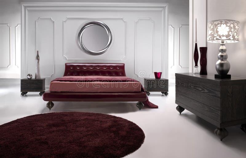 Chambre à coucher en cuir rouge luxueuse photos stock