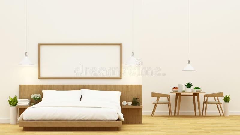 Chambre à coucher et salle à manger pour la conception de condominium et d'appartement - rendu 3d photographie stock libre de droits