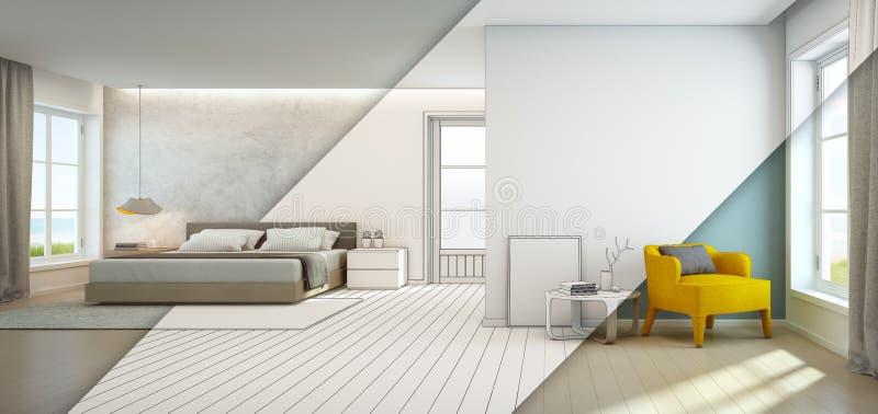 Chambre à coucher et salon de vue de mer dans la maison de plage de luxe, intérieur moderne de maison de vacances photographie stock